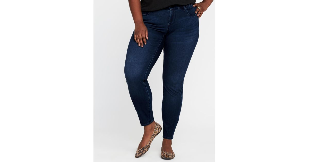654282357ae Lyst - Old Navy High-rise Secret-slim Pockets + Waistband Plus-size Rockstar  24 7 Jeans in Blue