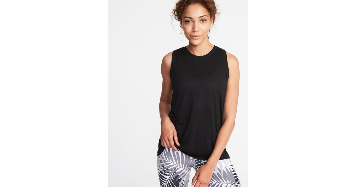 816752abdbdb5d Lyst - Old Navy Relaxed Mesh-back Fly-away Tank in Black