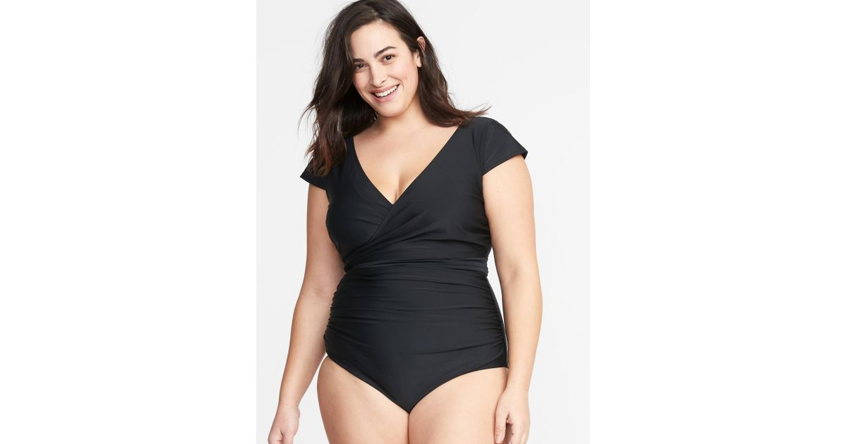 34d4f540aab Lyst - Old Navy Wrap-front Secret-slim Tie-back Swimsuit in Black