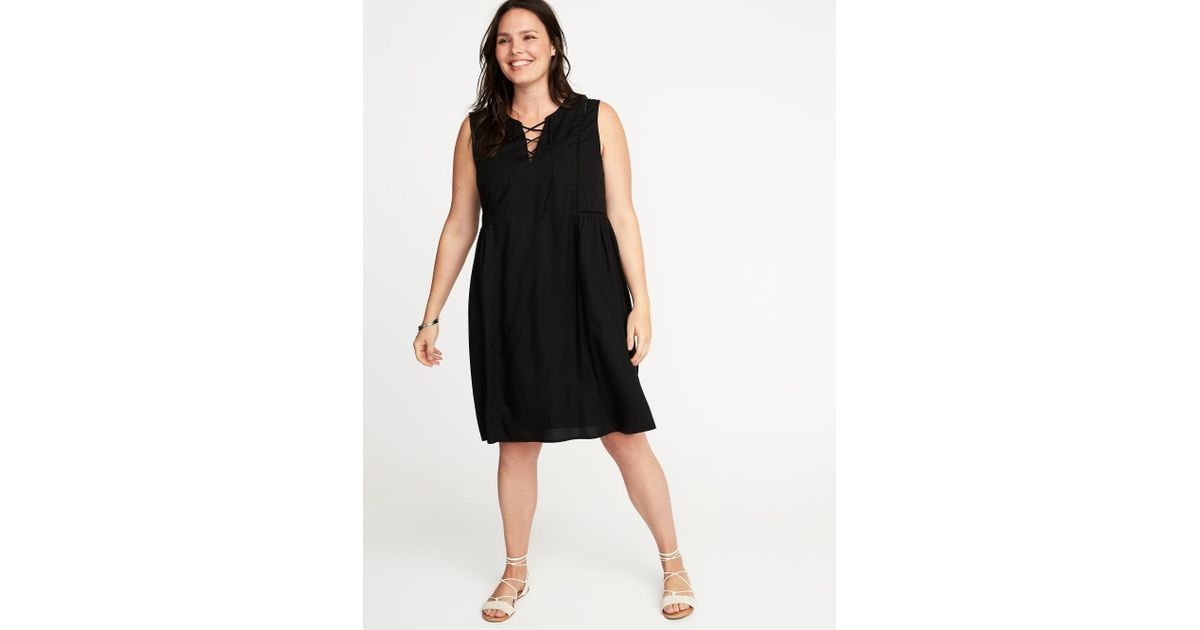 Lyst - Old Navy Plus-size Lace-up-front Swing Dress in Black