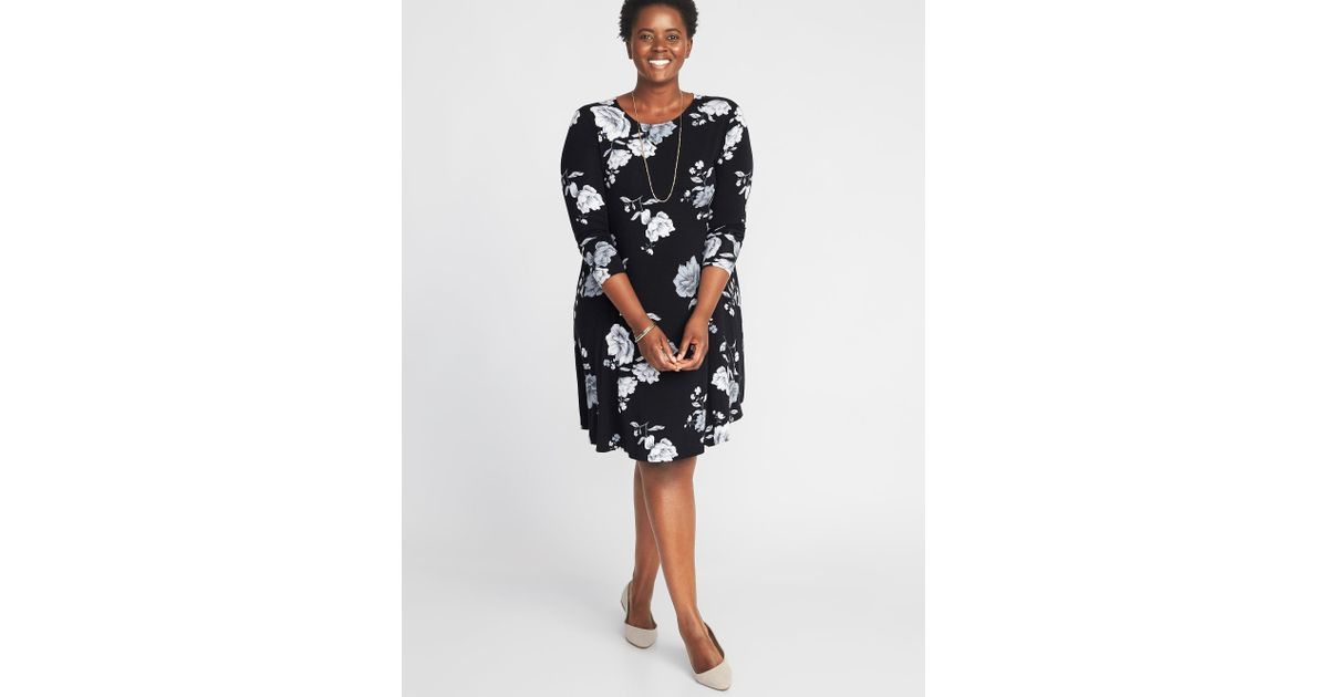 Old Navy - Black Plus-size Jersey Swing Dress - Lyst