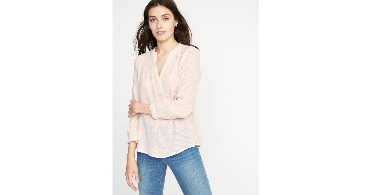 1f27617f031fb Lyst - Old Navy Relaxed Linen-blend Striped Top in Pink