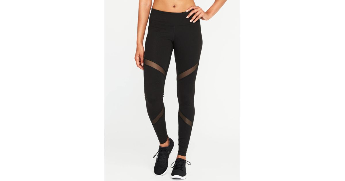 3e332ebcf70ac Old Navy Mid-rise Mesh-panel Elevate Compression Leggings in Black - Lyst