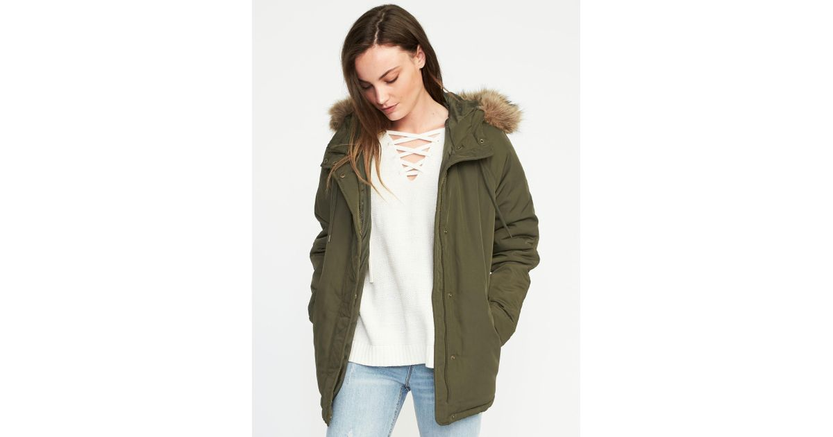38a874c85a946 Old Navy Hooded Frost-free Utility Parka in Green - Lyst