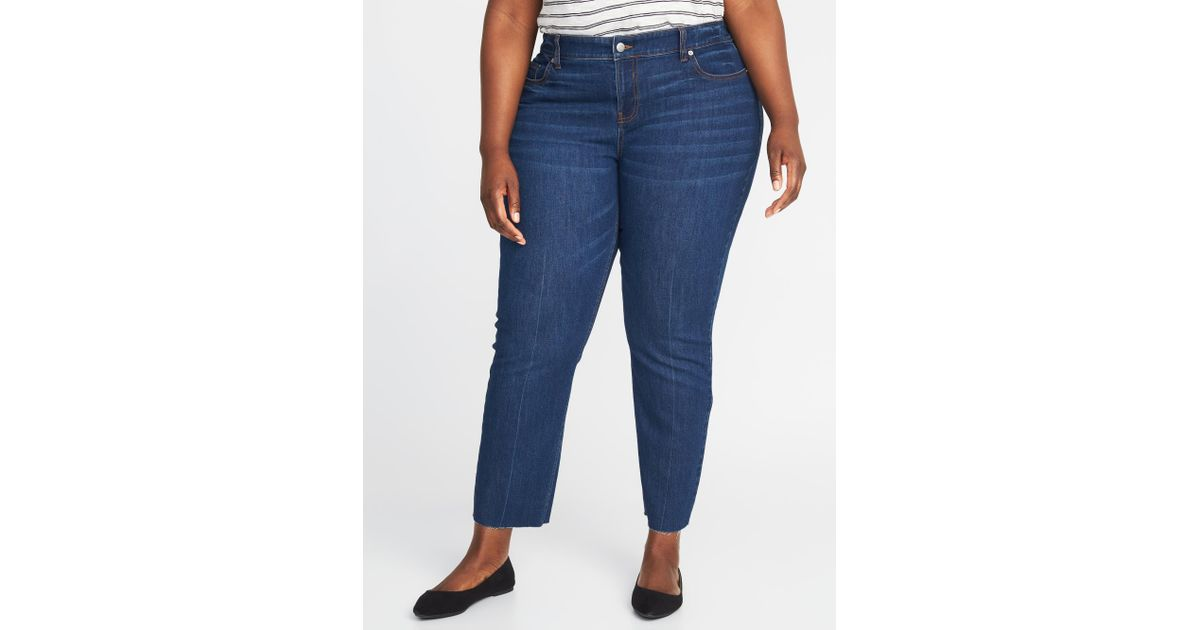22b9bc734ee08 Lyst - Old Navy High-rise The Plus-size Power Jean A.k.a. The Perfect  Straight Ankle in Blue