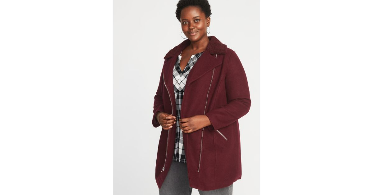 43a268d80ad70 Lyst - Old Navy Plus-size Sherpa-collar Long-line Moto Jacket in Red