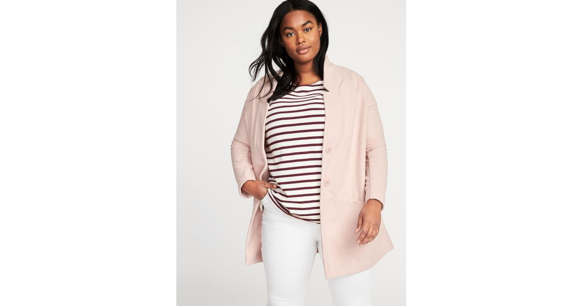 8137ec04e33f8 Lyst - Old Navy French-terry Plus-size Everyday Coat in Pink