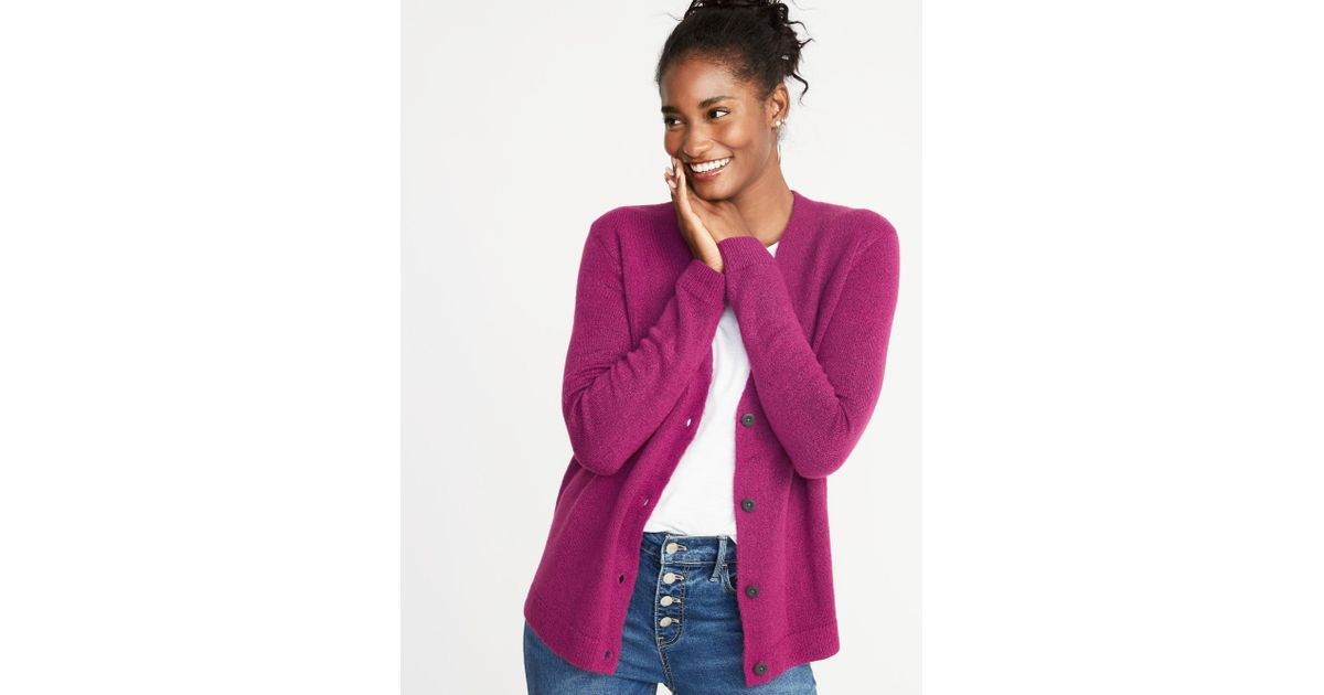 d291256911e5f2 Lyst - Old Navy Slouchy Soft-brushed V-neck Cardi in Purple