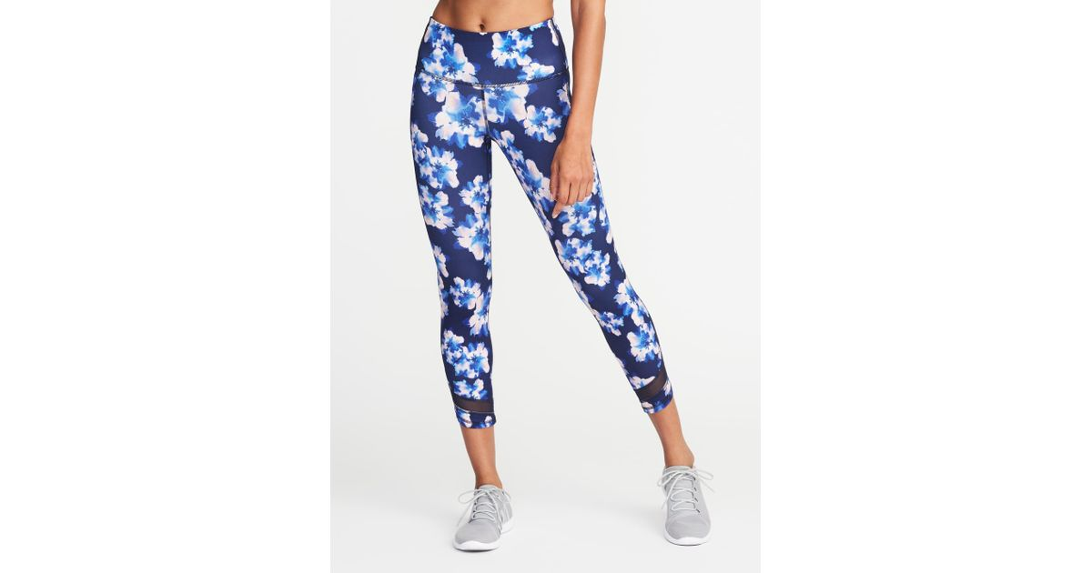 bb56219bee1b6 Old Navy High-rise 7/8-length Floral-print Mesh-trim Compression Leggings  in Blue - Lyst