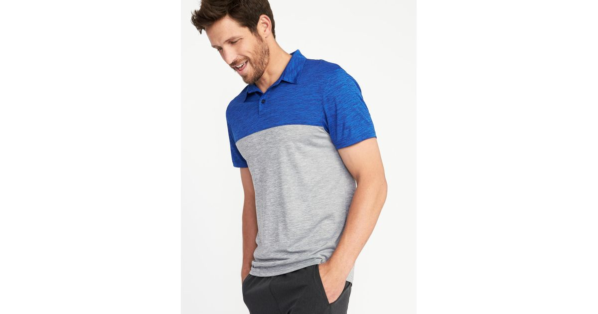 55b1f457 Lyst - Old Navy Go-dry Color-block Performance Polo in Blue for Men