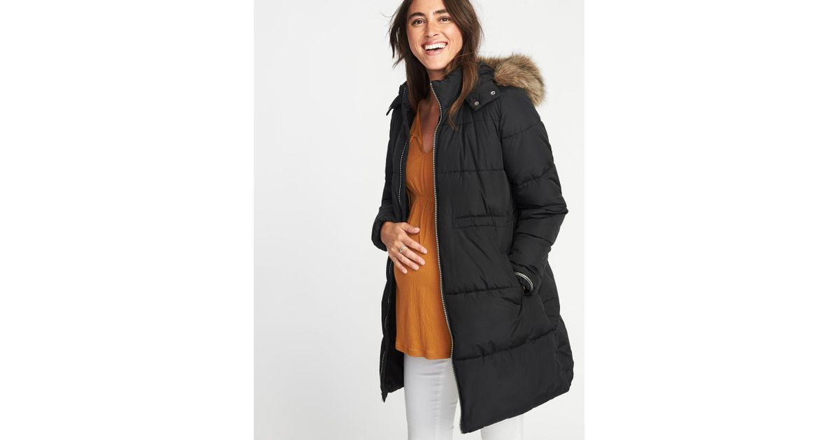 5e4679434f0 Lyst - Old Navy Maternity Long-line Hooded Frost-free Puffer Jacket in Black