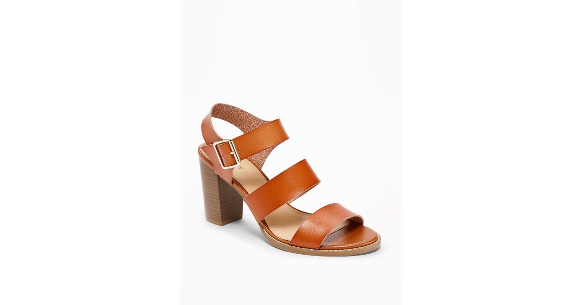 e1068339222 Lyst - Old Navy Three-strap Block-heel Sandals in Brown