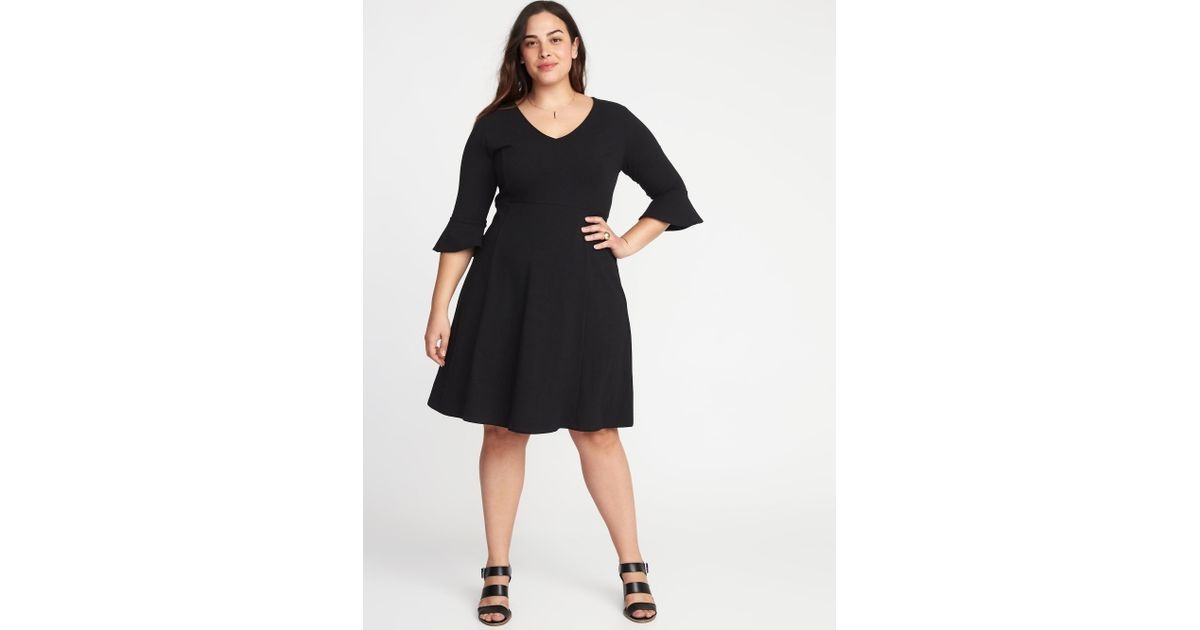 Lyst Old Navy V Neck Flute Sleeve Fit Flare Plus Size Dress In Black