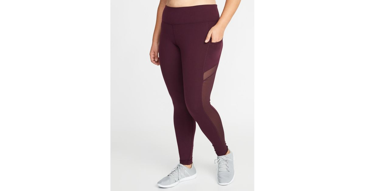 703f735391b64f Old Navy High-rise Elevate Mesh-trim Compression Plus-size Leggings in  Purple - Lyst
