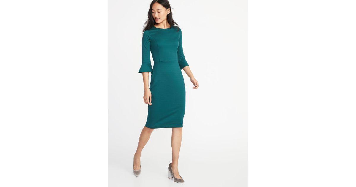e10e3812e366 Lyst - Old Navy Ruffle-sleeve Ponte-knit Sheath Dress in Green