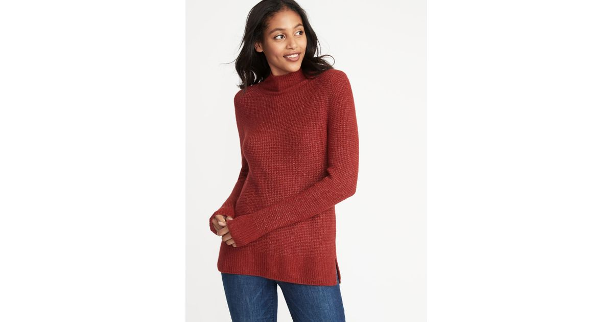 aa3dc0d909 Old Navy Mock-neck Sweater in Red - Lyst