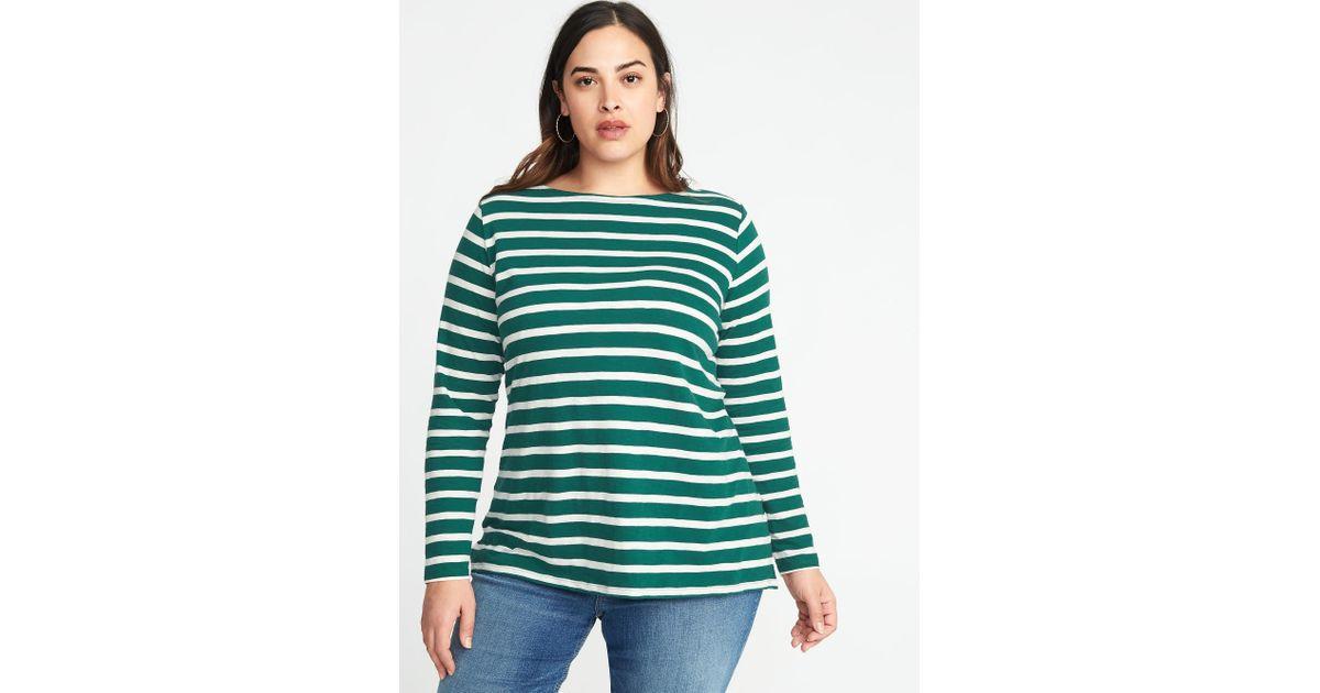 3b4877f9dae Lyst - Old Navy Everywear Mariner-stripe Plus-size Boat-neck Tee in Green