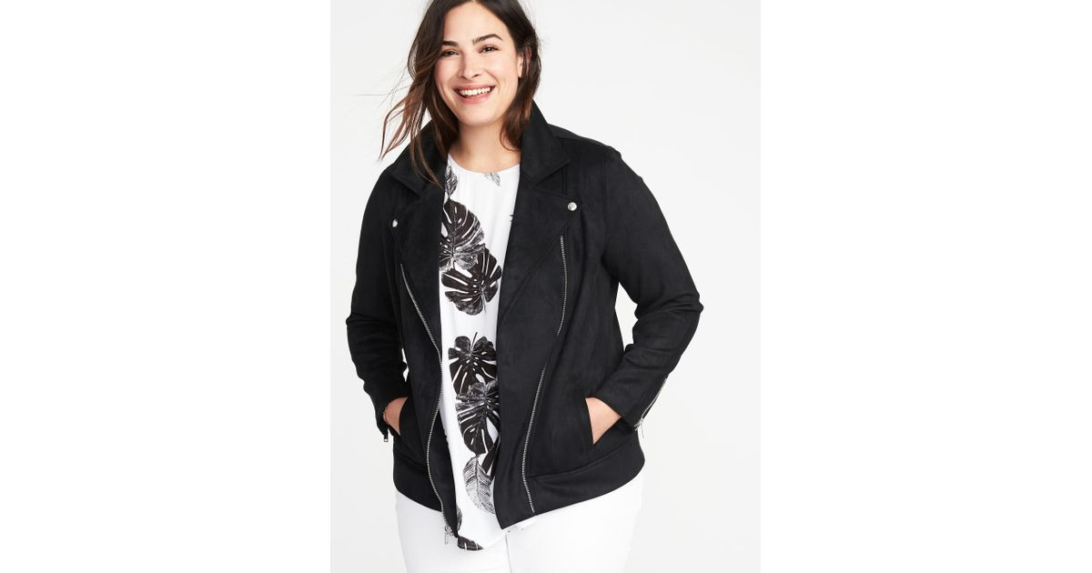 0e978473509 Lyst - Old Navy Plus-size Sueded-knit Moto Jacket in Black