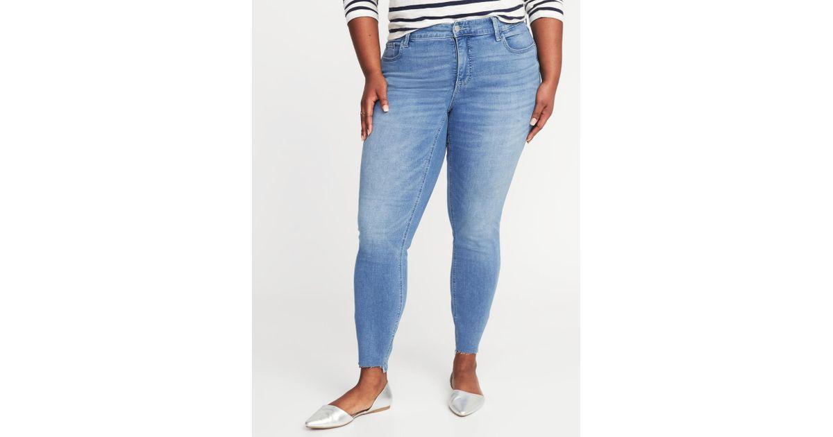 d772c0adc9a Lyst - Old Navy High-rise Secret-slim Pockets Plus-size Rockstar Step-hem  Jeans in Blue