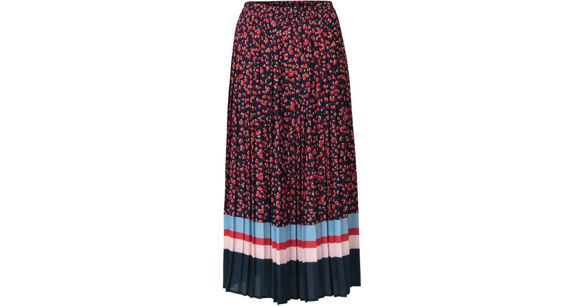 7a7963cbcf Lyst - Oliver Bonas Leopard Pleated Navy Midi Skirt in Blue
