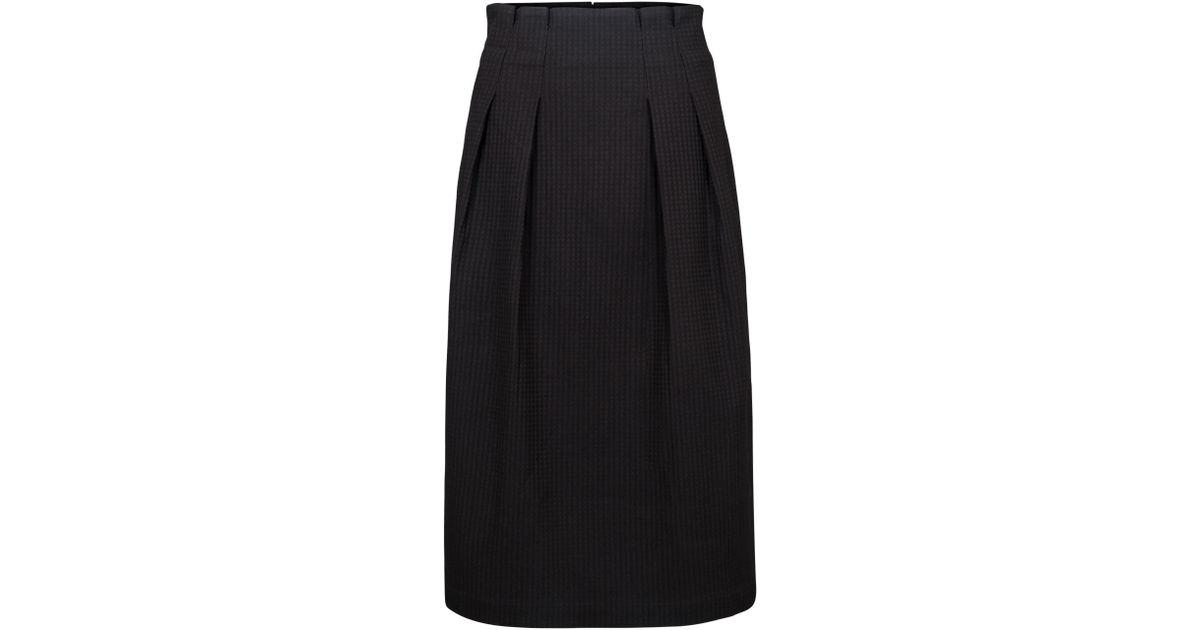 1f2b2082a5 Oliver Bonas Waffle Midi Skirt in Black - Lyst