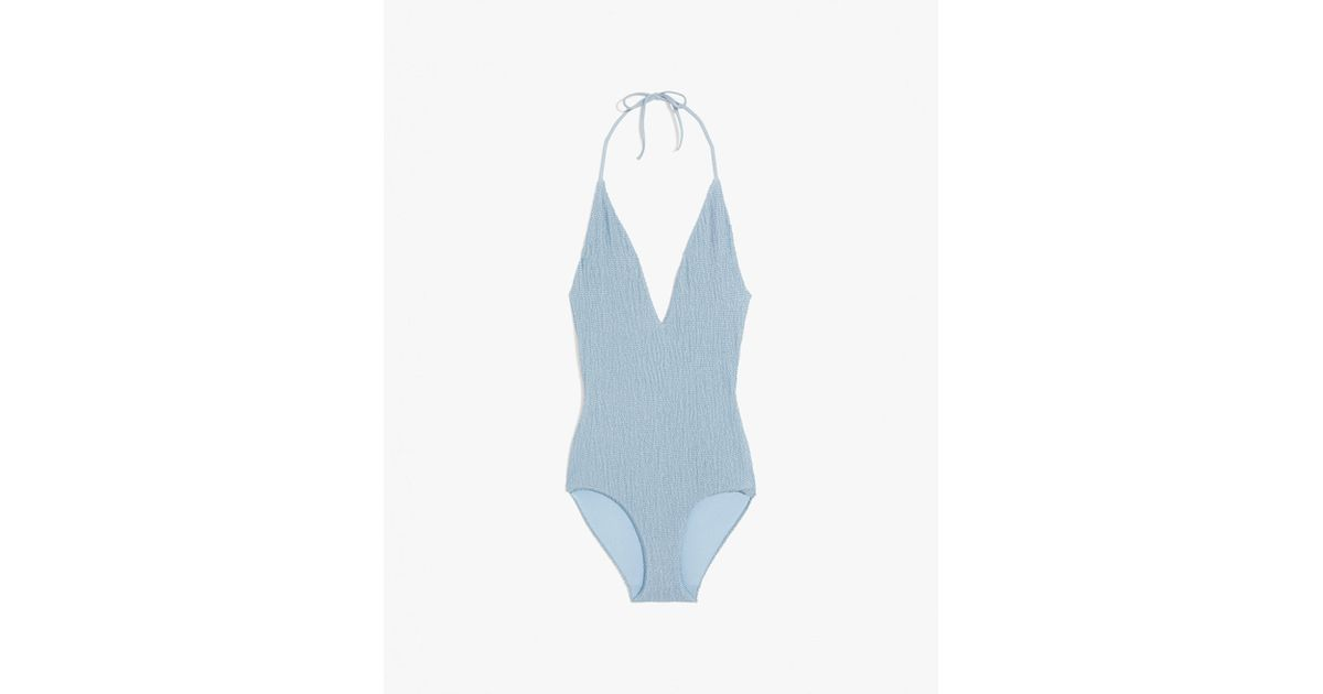 31b7443029 Onia Nina Smocking One Piece Swimsuit in Blue - Lyst