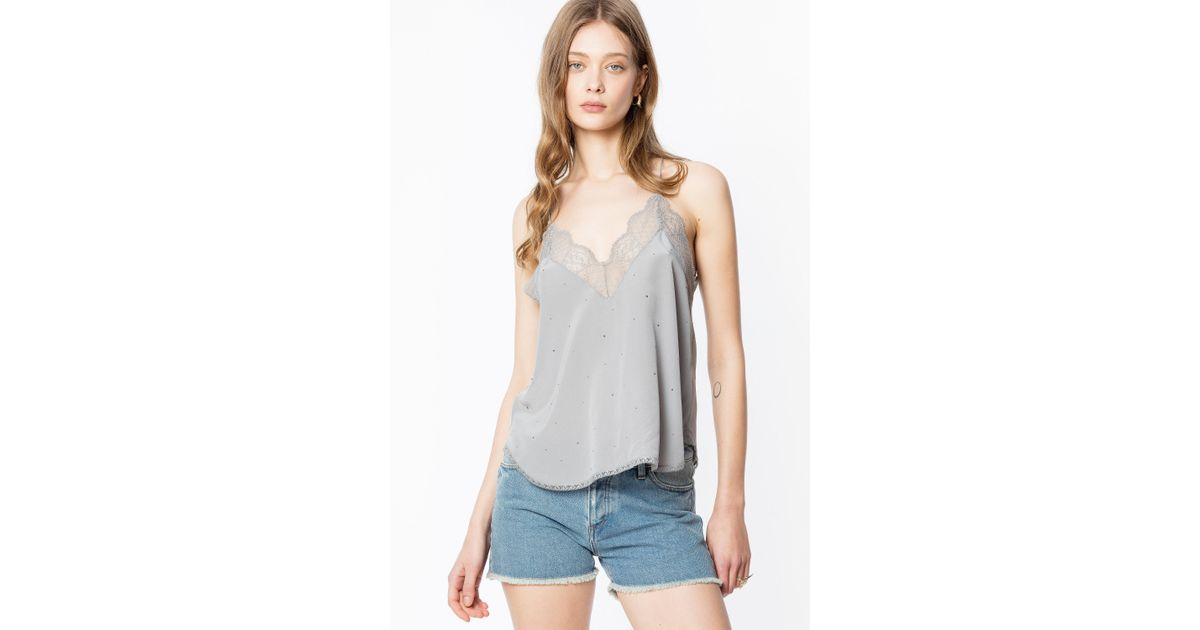 804dac81fc1 Zadig & Voltaire Christy Strass Camisole in Gray - Lyst