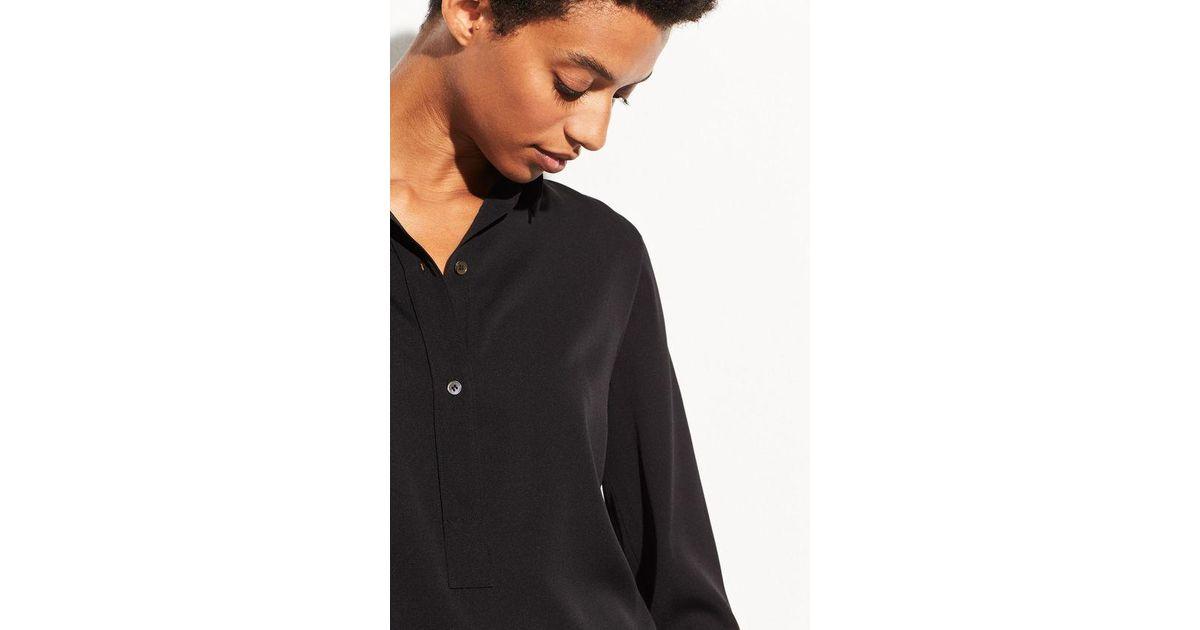 5bf059f8c21b0d Lyst - Vince Stretch-silk Popover in Black