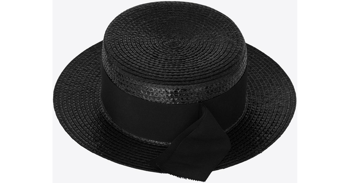 efadef7e Saint Laurent Small Boater Hat in Black - Lyst