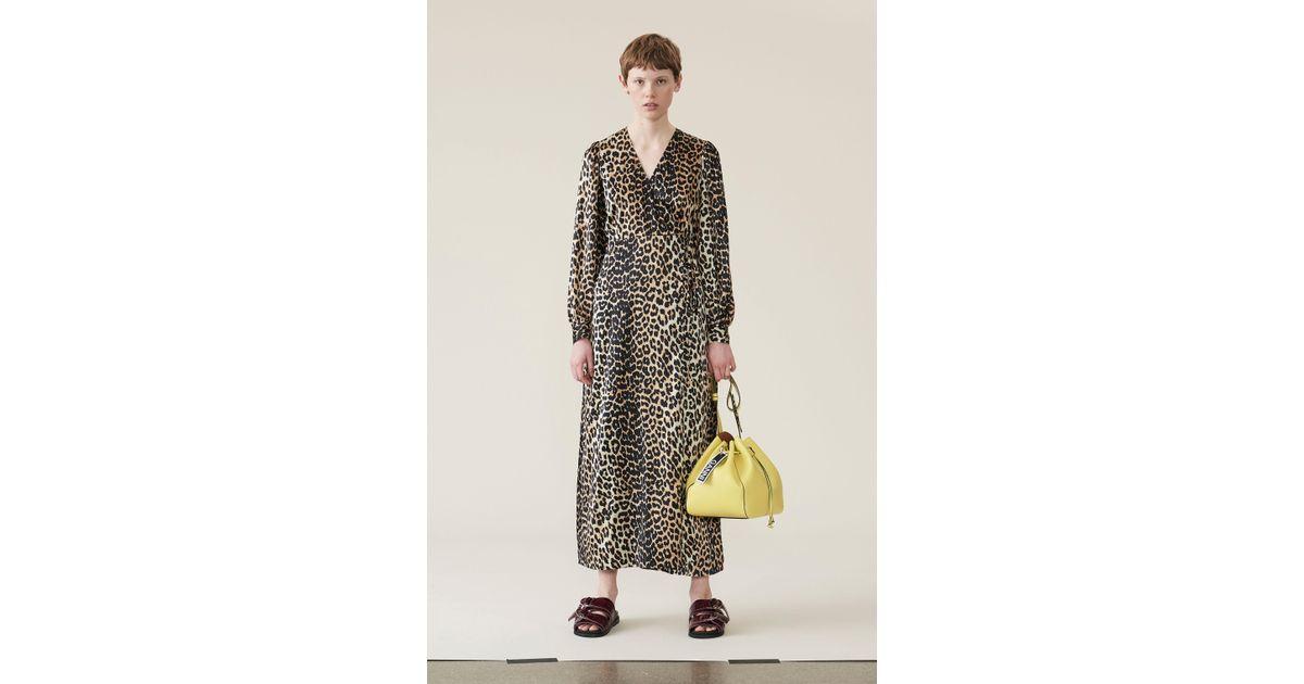 1f8c884198cd Ganni Silk Stretch Satin Wrap Dress - Lyst