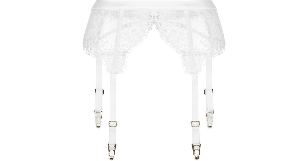c64f36c06 La Perla Exotique Off-white Leavers Lace Suspender Belt in White - Lyst