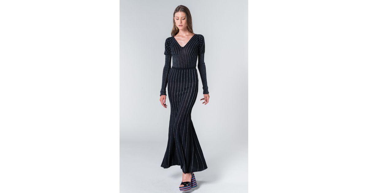 cdae0c46b41 Sonia Rykiel Lurex Knit Long Skirt in Black - Save 50% - Lyst