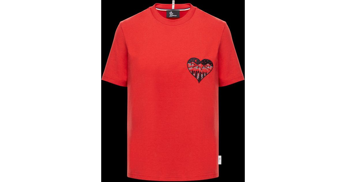 a8911100 Lyst - Moncler T-shirt in Red