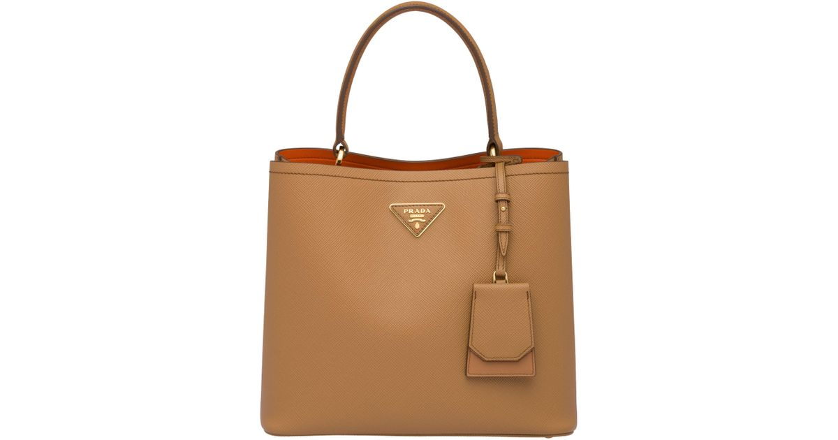 4a068c02c498 Lyst - Prada Double Saffiano Leather Bag in Brown