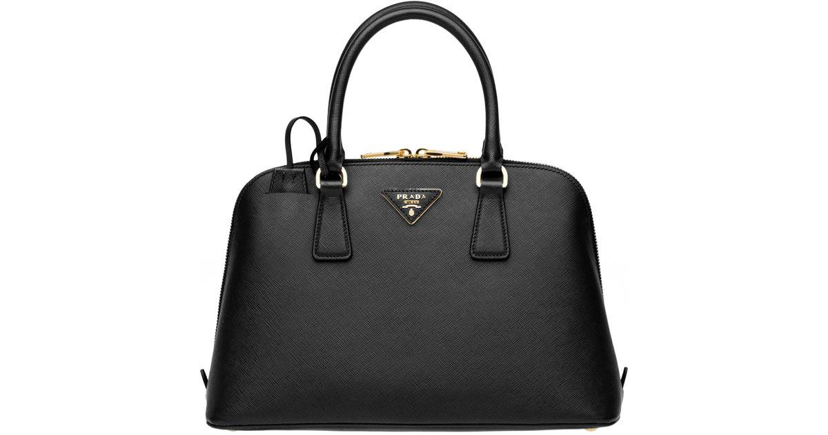 18ef082002295a Lyst - Prada Promenade Saffiano Leather Bag in Black