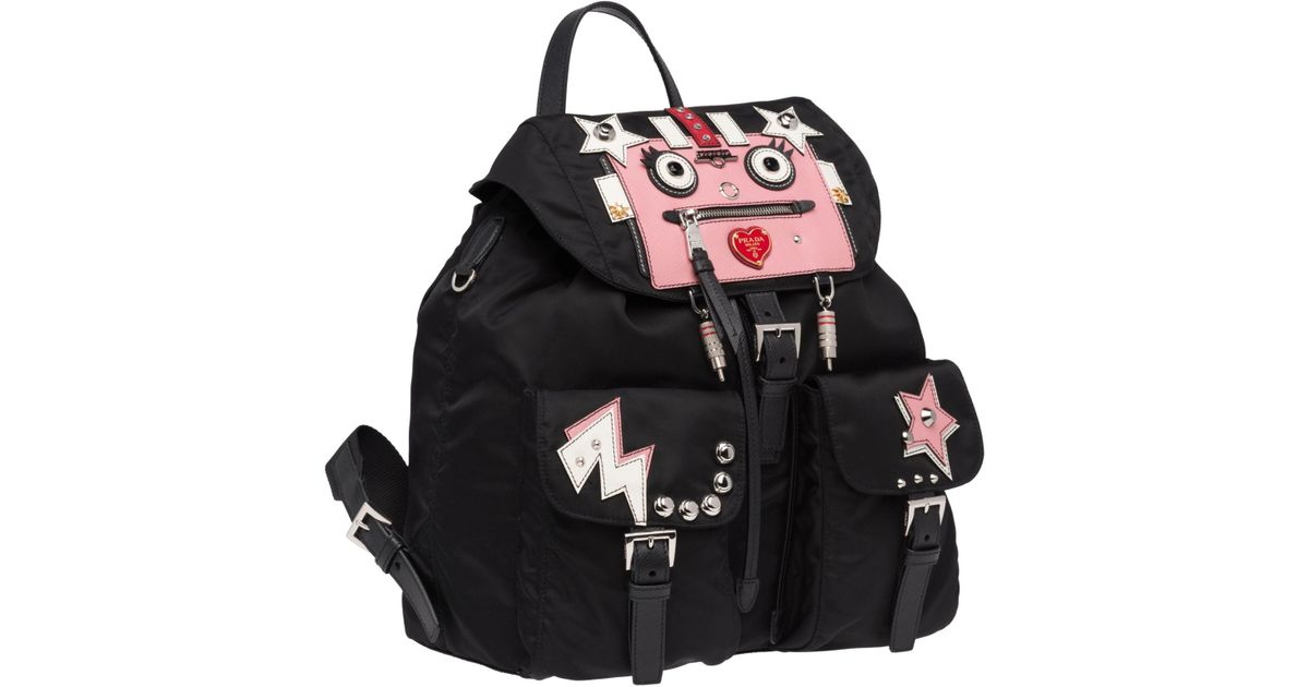 05cd95310c54 Prada Leather And Fabric Backpack With Robot in Black - Lyst