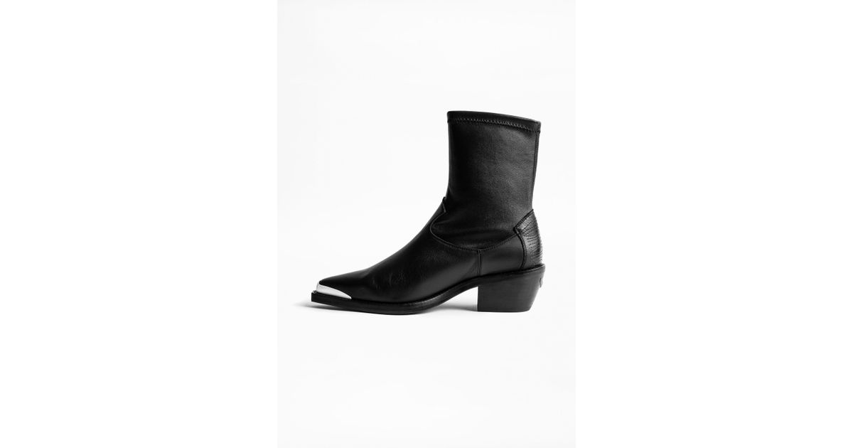 6a7350851a67 Zadig   Voltaire Erin Stretch Ankle Boots in Black - Lyst