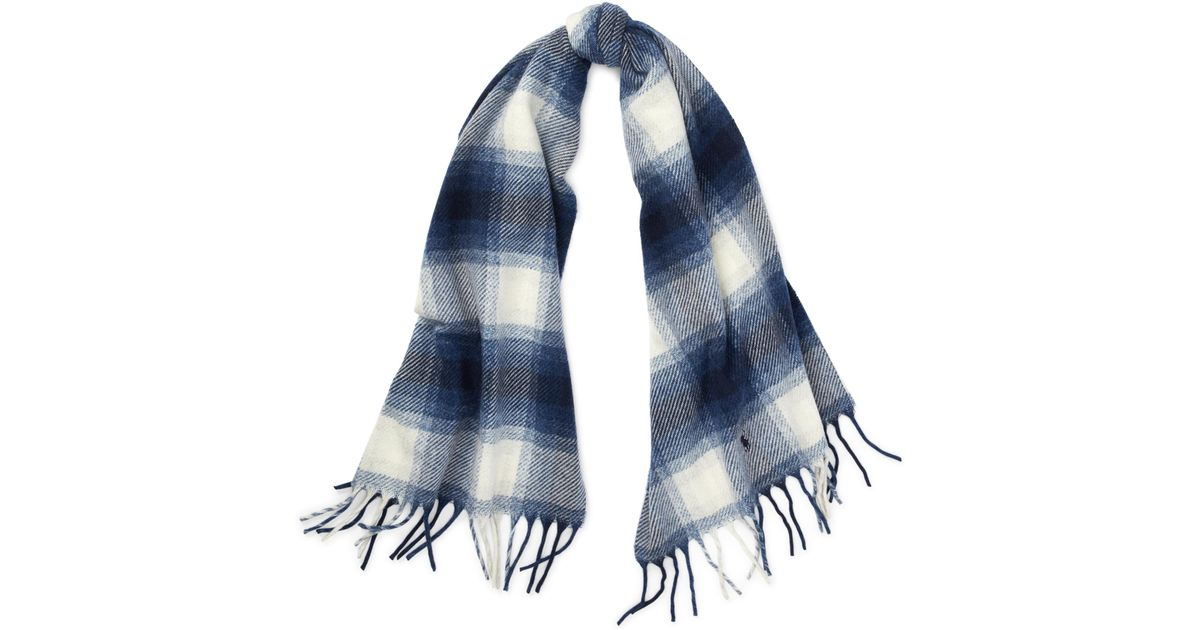 Lyst - Polo Ralph Lauren Plaid Wool Blanket Scarf in Blue 303a83ac240
