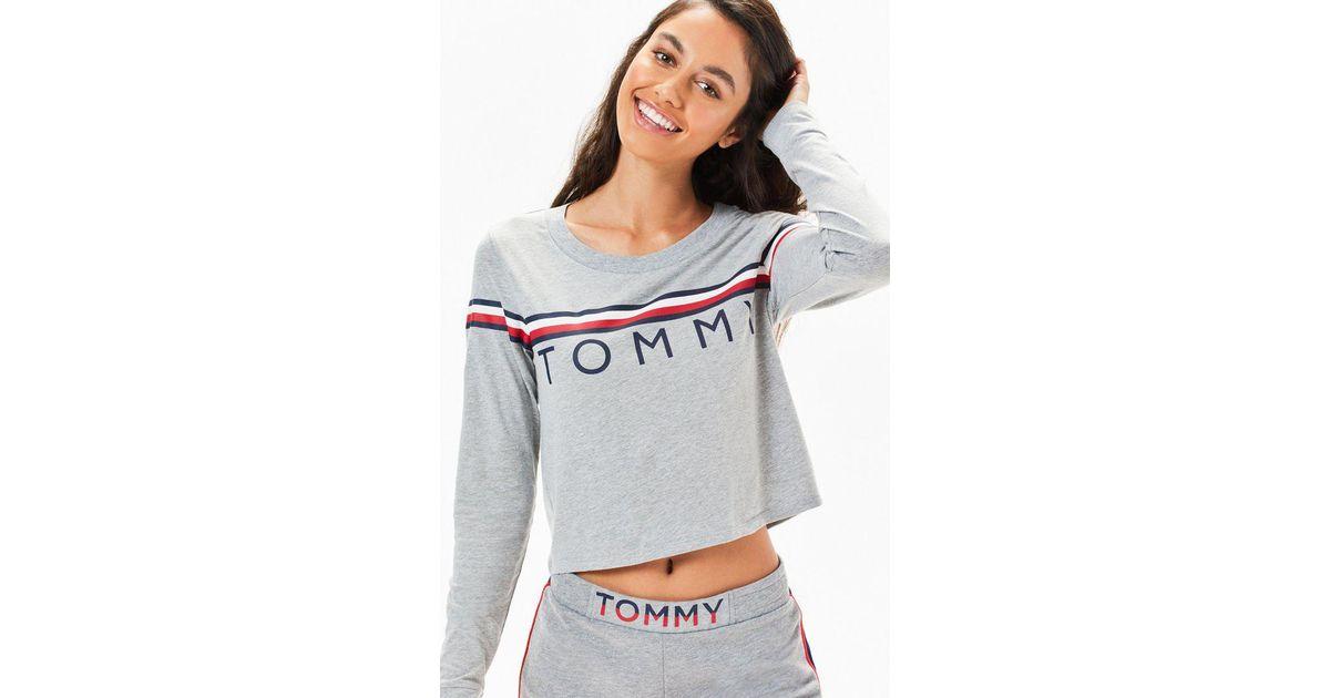 469eab41d36cf Lyst - Tommy Hilfiger Long Sleeve Sleep T-shirt in Gray