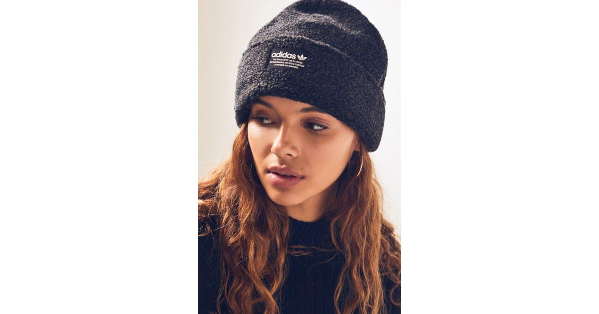 Lyst - adidas Black   White Nova Beanie in Black 3cd98e478a1