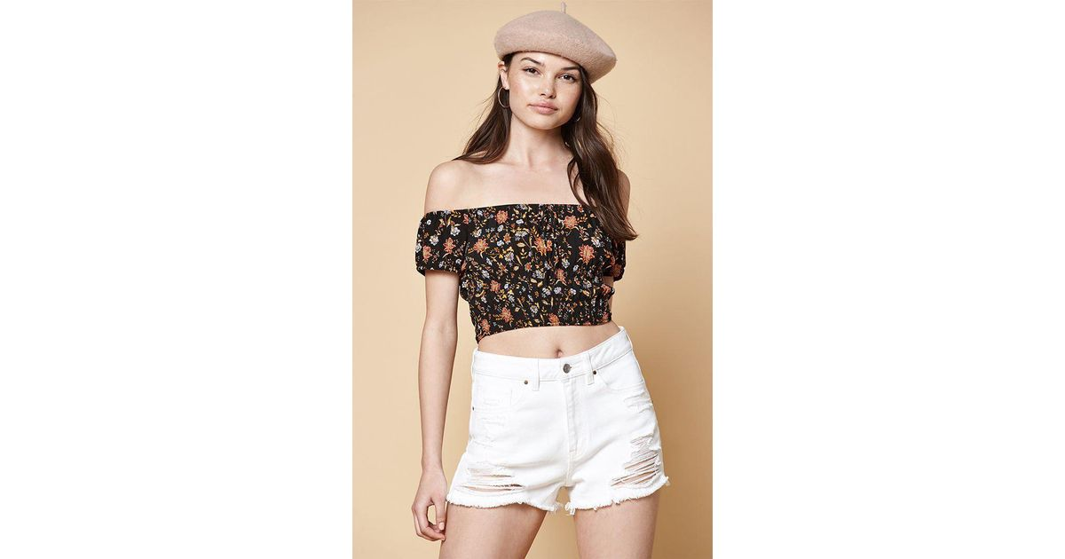 8295e3517067b Lyst - Kendall + Kylie Cinched Waist Off-the-shoulder Top in Black