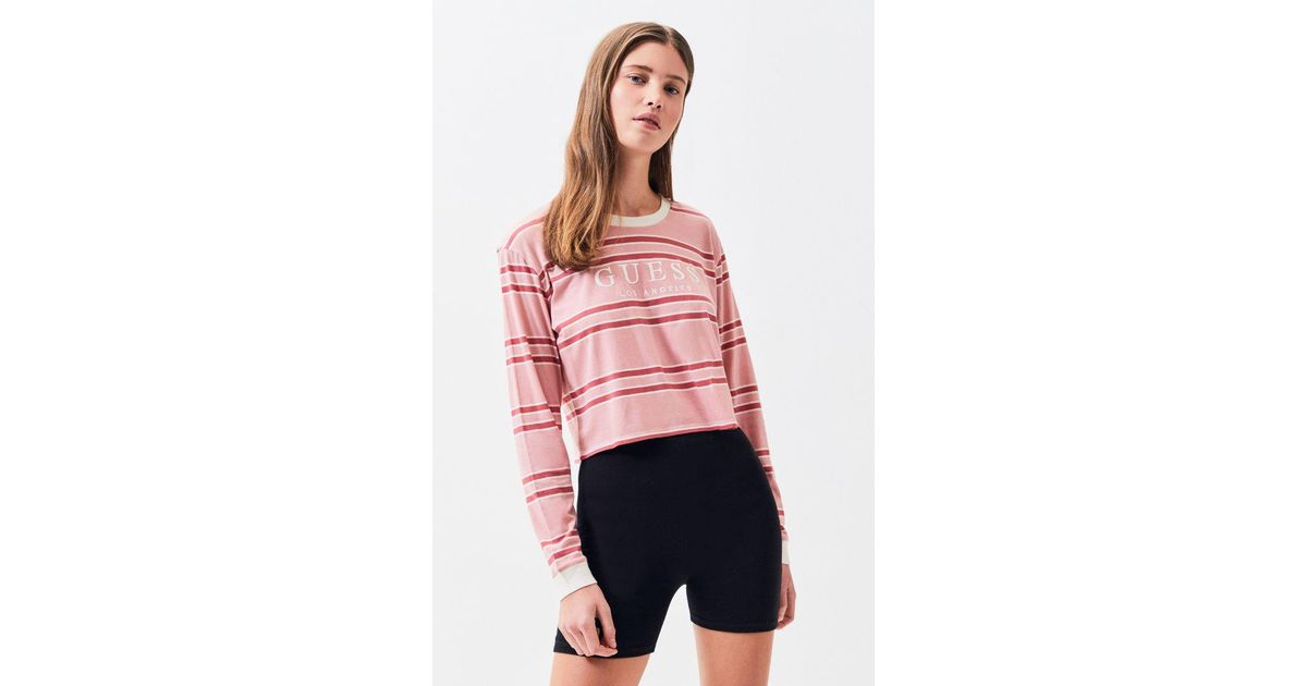 f2bfd17150477 Lyst - Guess Long Sleeve Wilson Cropped T-shirt in Pink