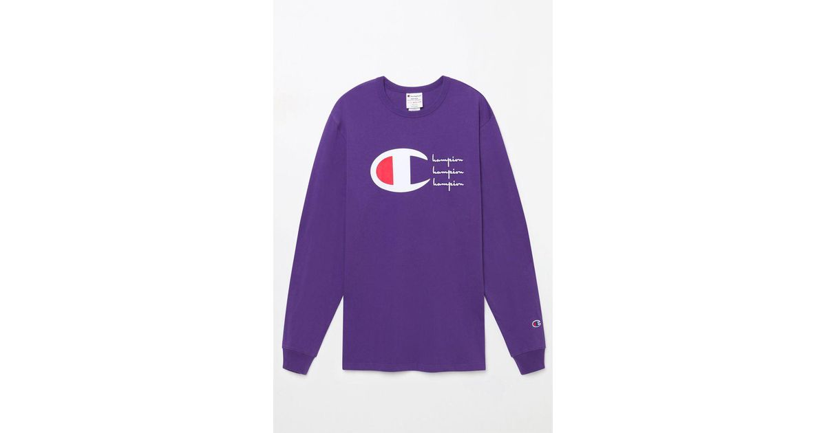 the best attitude 8821a 98601 Champion Script Heritage Long Sleeve T-shirt in Purple for Men - Lyst