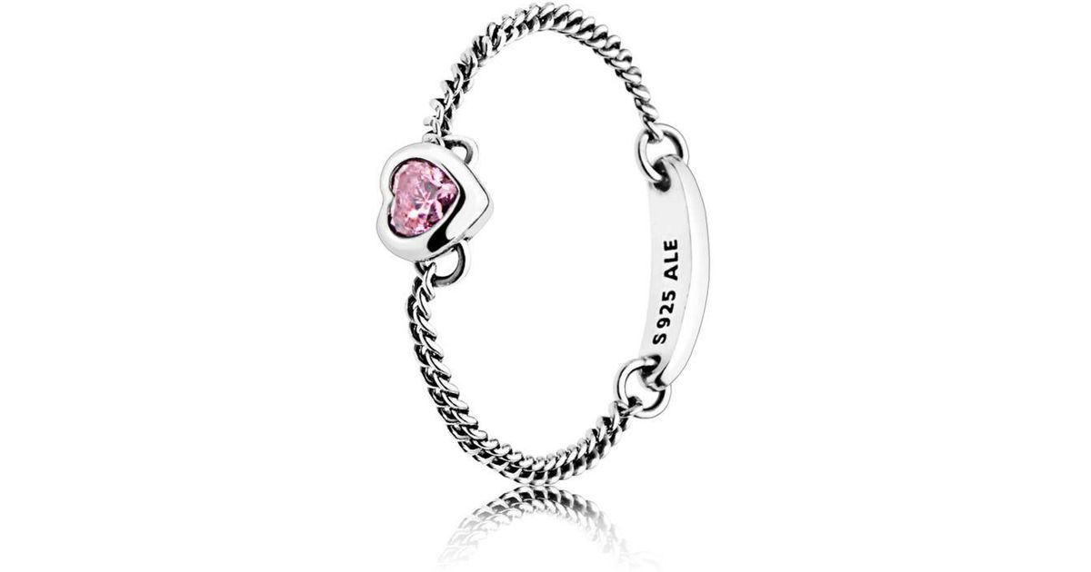 0f991aae2 PANDORA Pink Spirited Heart Chain Ring - Save 60% - Lyst