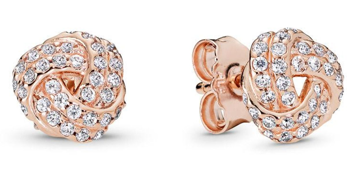 7e57a419a PANDORA Sparkling Love Knot Stud Earrings in Pink - Lyst