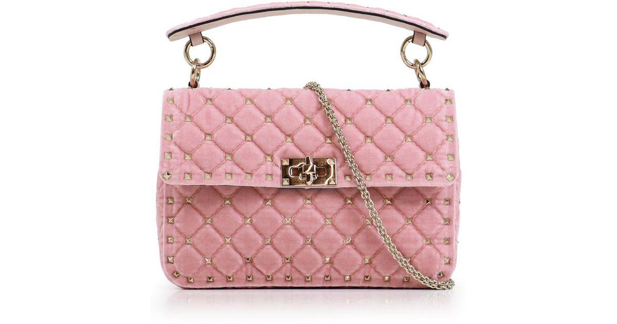 42c1b58812 Valentino Rockstud Spike Velvet Medium Bag Water Rose in Pink - Lyst