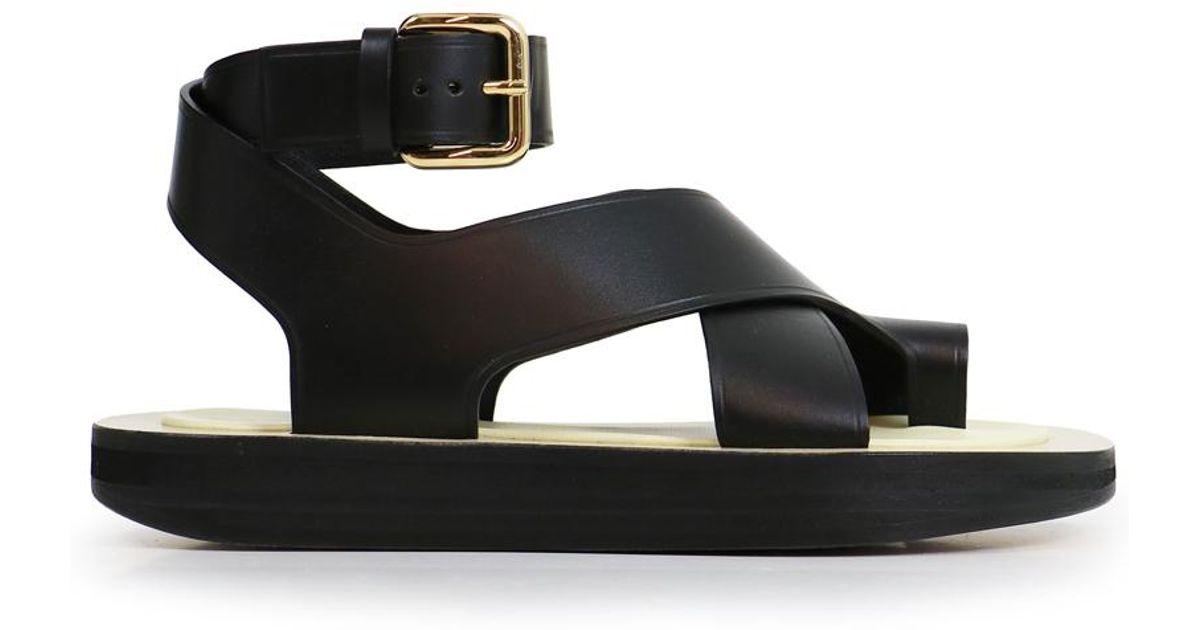 9b098f15f2e5e2 Céline Flat Toe Ring Sandal Black in Black - Lyst