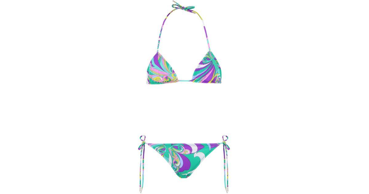 a8f8eabf39962 Emilio Pucci Triangle Bikini Giada in Blue - Lyst