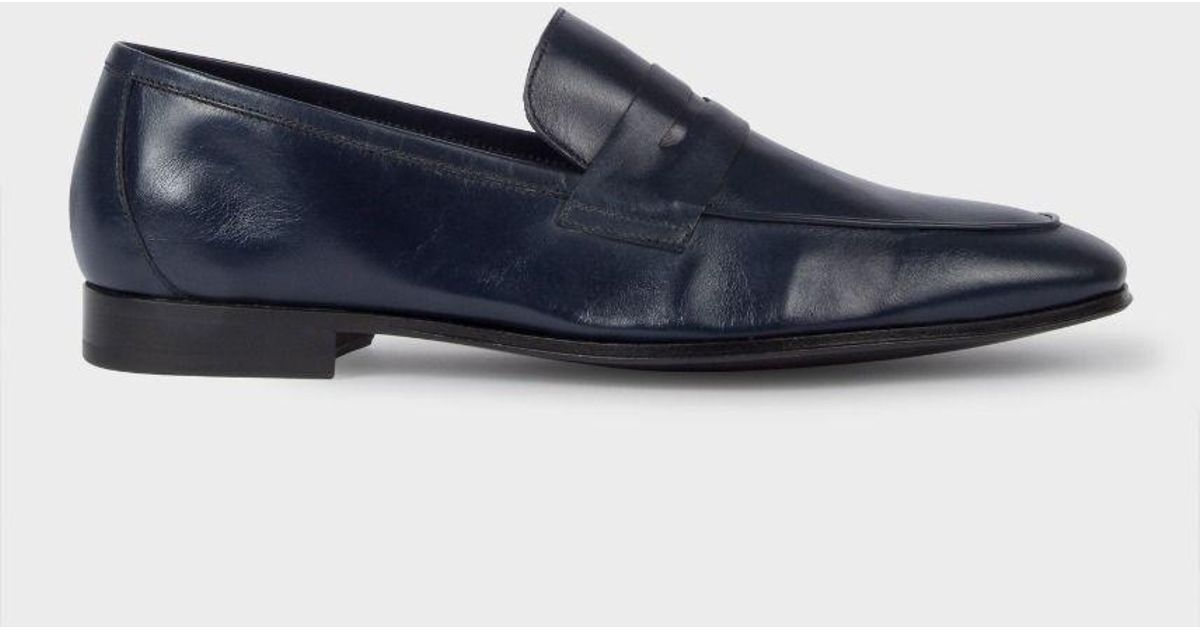 4f9505d8175 Lyst - Paul Smith Men s Navy Leather  glynn  Penny Loafers in Blue for Men