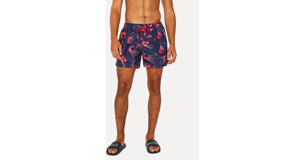 3dc1c23cd3 Paul Smith Navy 'Prawn' Print Swim Shorts in Blue for Men - Lyst